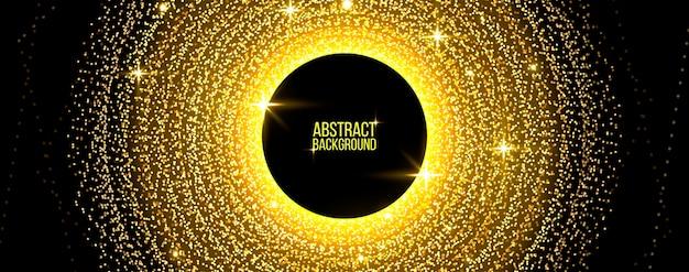 Deeltjes stromen geometrische achtergrond. goud glinsterende vormen van lichten. abstract concept voor uw ontwerp. vector illustratie.