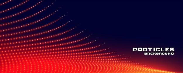 Deeltjesstroombanner in rode gloeiende lichtkleur