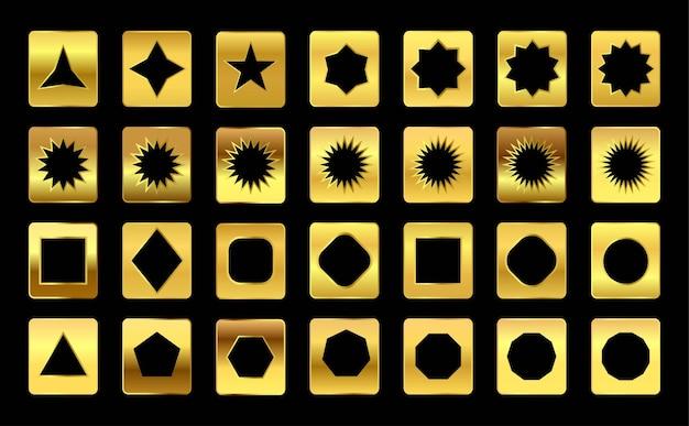 Deep gold premium gradient stalen palet set cirkel vierkant ruit vijfhoek zeshoek achthoek