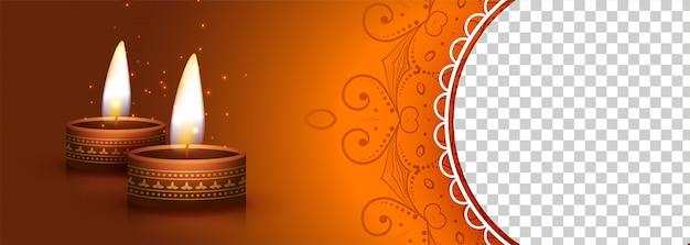 Deepawali-banner met brandende diya-lamp