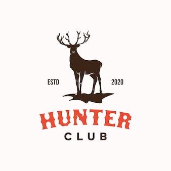 Deer hunter club logo ontwerpsjabloon