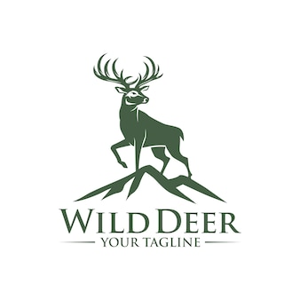 Deer on the rock logo design