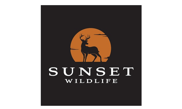 Deer sunset logo design inspiratie
