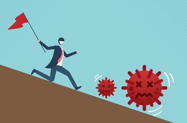 Defensief en vecht om covid-19 of coronavirus te winnen en te overleven. vectorbeeldverhaalontwerp.