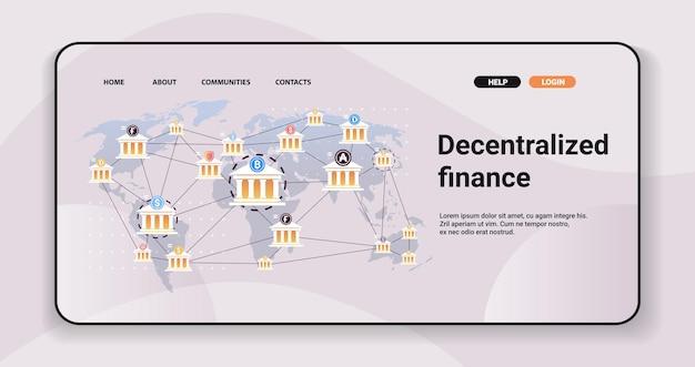 Defi gedecentraliseerd financieel systeem cryptocurrency en blockchain-technologieconcept horizontaal