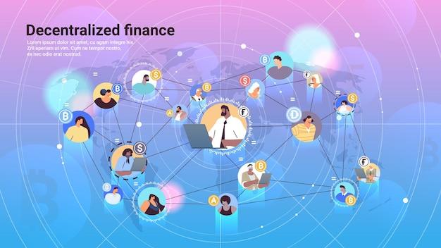 Defi gedecentraliseerde financiële systeem cryptocurrency en blockchain technologie concept horizontale kopie ruimte vectorillustratie