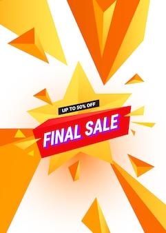 Definitieve verkoopbanner met veelkleurige veelhoekige driehoekige elementen op een stervorm voor speciale aanbiedingen, verkoop en kortingen.