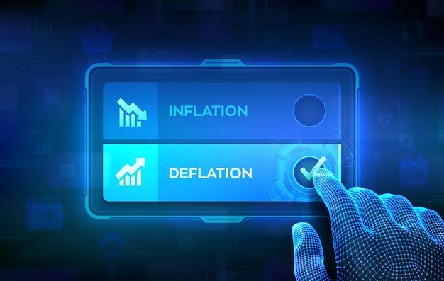 Deflatie of inflatie keuze concept. een besluit maken. voorraad of forex zaken en financiëngeld. hand op virtueel touchscreen die het vinkje op de knop deflatie aanvinkt. vector illustratie.