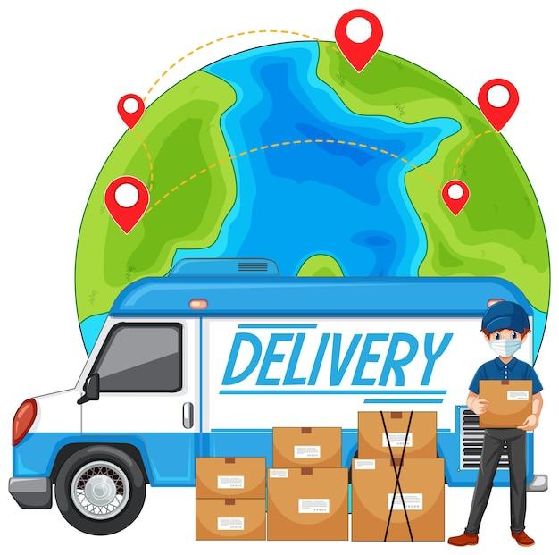Deivery vrachtwagen of bestelwagen met bezorger of koerier in blauw uniform op wereldbol