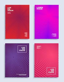 Dekt moderne abstracte ontwerpsjablonen futuristische geometrische composities