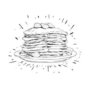 Delecious pancake lijntekeningen illustratie