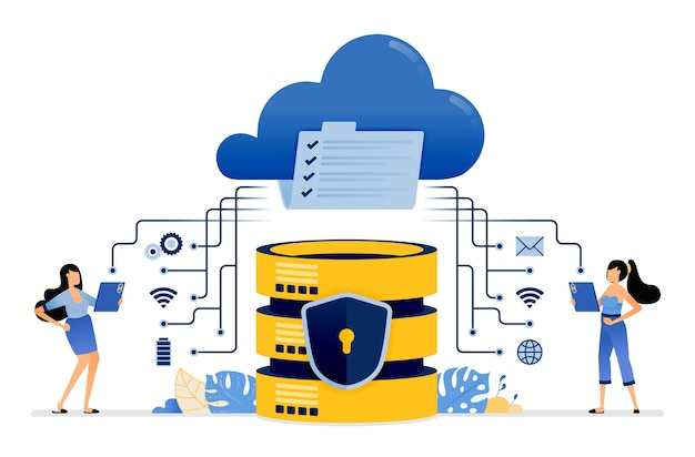 Delen en communiceren van gegevens met cloudservices geïntegreerd met een beveiligd databasesysteem