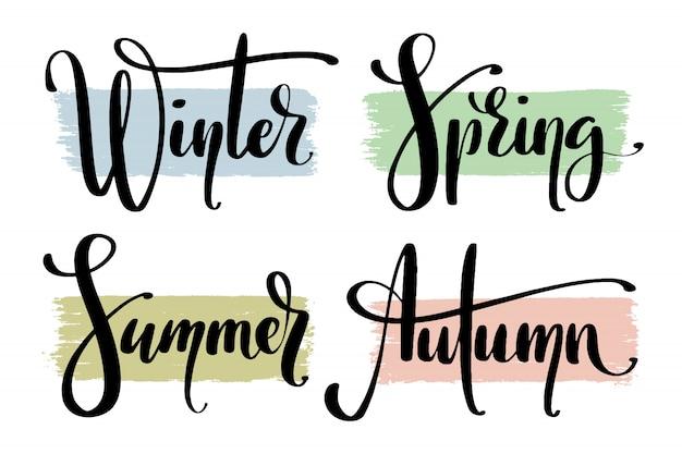 Delen van het jaar. namen van seizoenen met de hand.