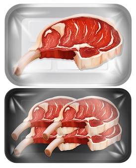 Delen van vlees in verpakkingen Gratis Vector
