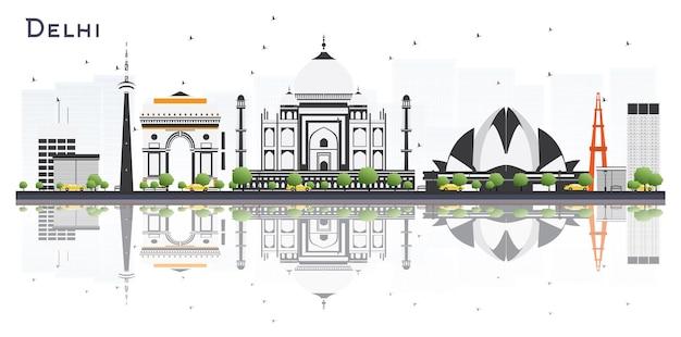 Delhi india city skyline met kleur gebouwen en reflecties geïsoleerd op een witte achtergrond vector