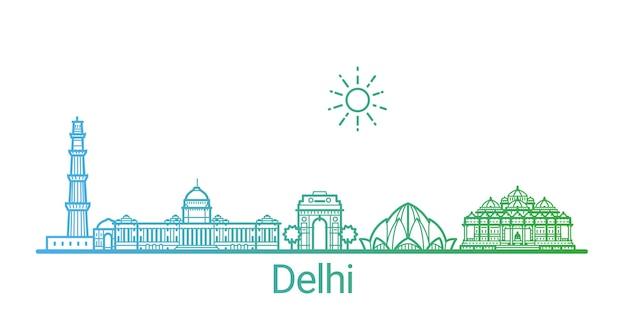 Delhi stad gekleurde verlooplijn
