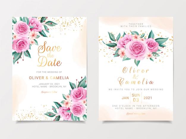 Delicaat bruiloft uitnodigingskaartsjabloon ingesteld met aquarel bloemen boeket en gouden glitter