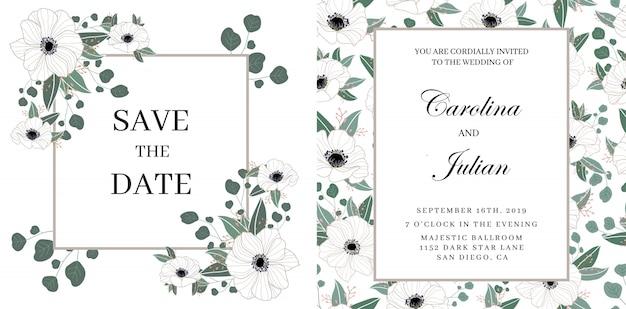 Delicate bloemenhuwelijksuitnodiging