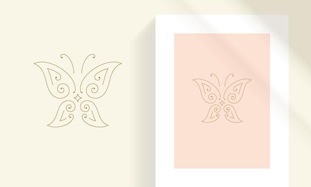 Delicate vlinder met decoratieve vleugels lijn kunst stijl vectorillustratie