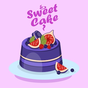 Delicious berry cake cartoon social media banner