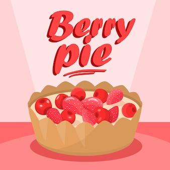 Delicious berry pie cartoon social media banner