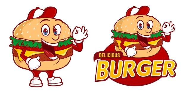 Delicious burger, fast foods logo sjabloon met grappig karakter