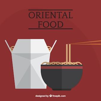Delicious noodles in plat design