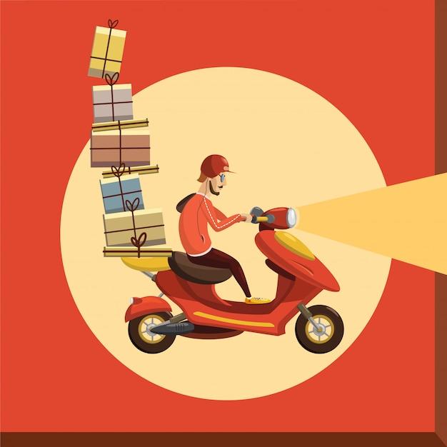Delivery boy ride scooter motorcycle service, bestelling, wereldwijde verzending, snel en gratis transport
