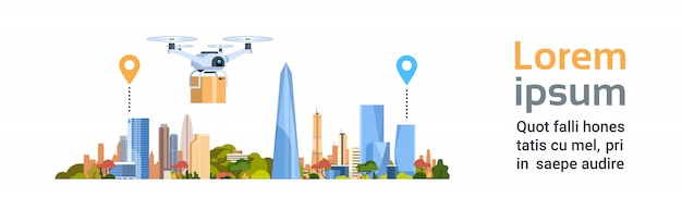 Delivery drone with package over city. snelle luchtvervoer concept sjabloon horizontale banner