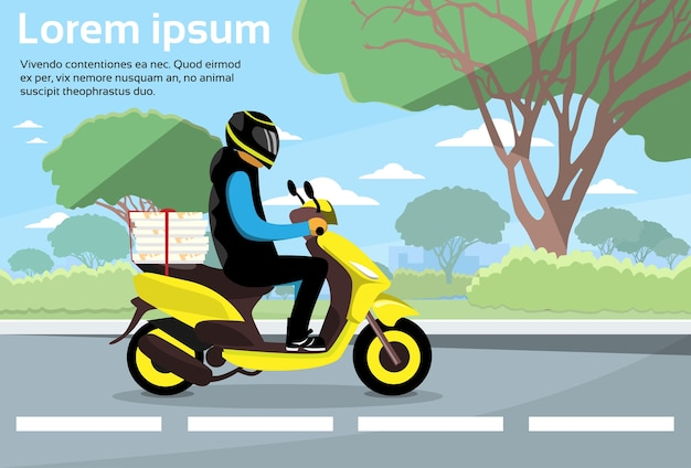 Delivery man ride scooter motorcycle deliver service