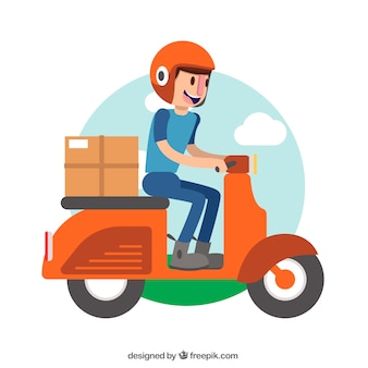 Deliveryman lachen en rijden scooter