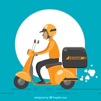 Deliveryman met helm en retro scooter