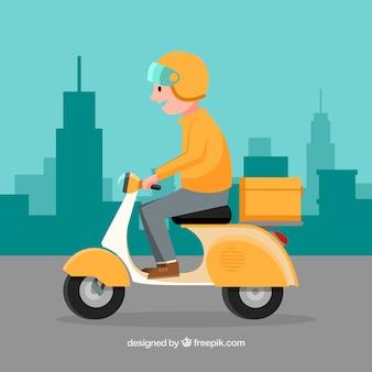 Deliveryman met klassieke scooter