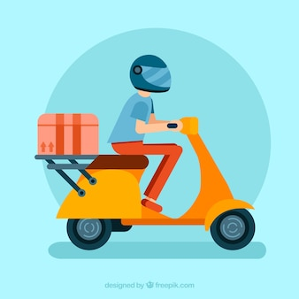 Deliveryman met scooter, helm en doos