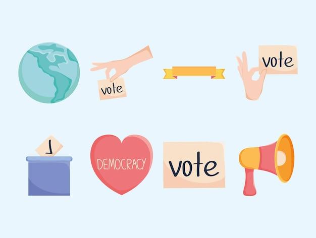 Democratie en stemmen icon set
