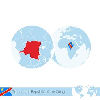Democratische republiek congo op wereldbol met vlag en regionale kaart van dr congo. vectorillustratie.