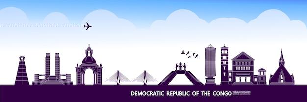 Democratische republiek congo reisbestemming grote illustratie