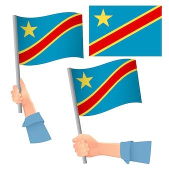 Democratische republiek congo vlag in de hand set