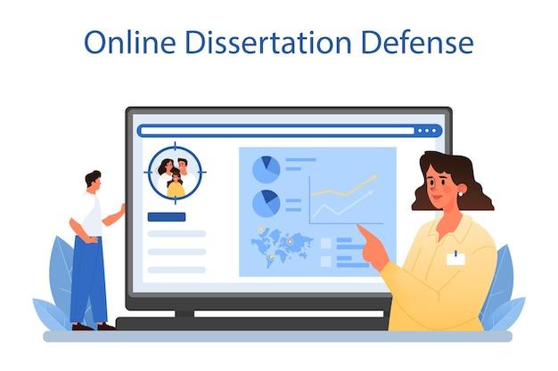 Demograaf online service of platform. wetenschapper die bevolkingsgroei bestudeert, analyseert demografische statistieken. online proefschrift verdediging. platte vectorillustratie