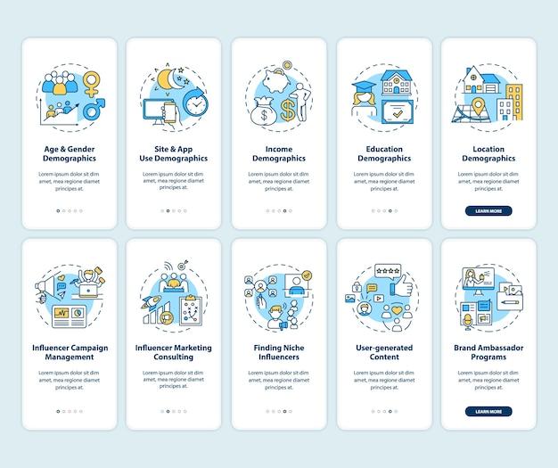 Demografie van sociale media voor onboarding mobiele app-paginascherm met ingestelde concepten