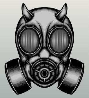 Demon gasmasker in de hand getekend