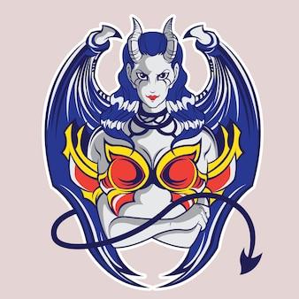 Demon girl illustratie, t-shirt design