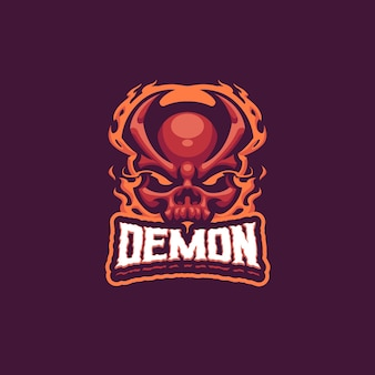 Demon head mascot-logo voor esport- en sportteam
