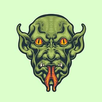 Demon hoofd vintage stijl