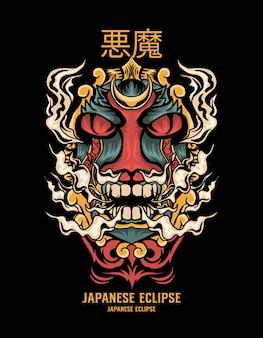 Demon illustratie japanse stijl