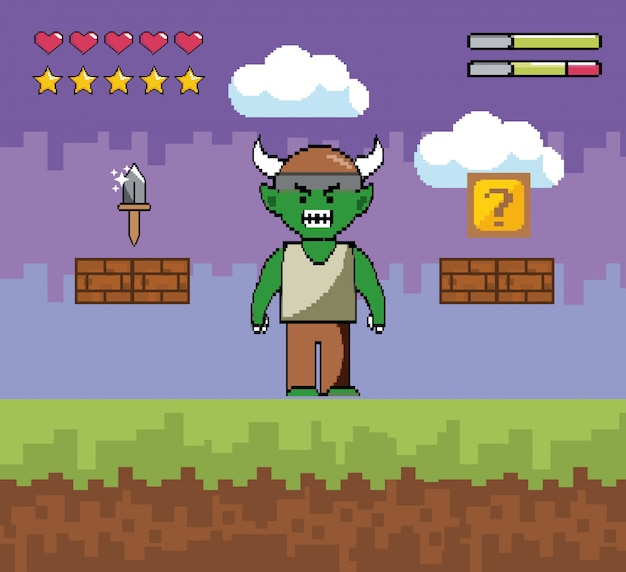 Demon karakter met mes en kubus met levensbalkjes