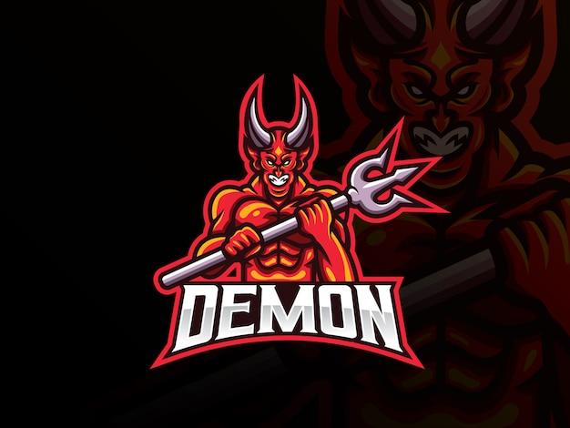 Demon mascotte sport logo ontwerp