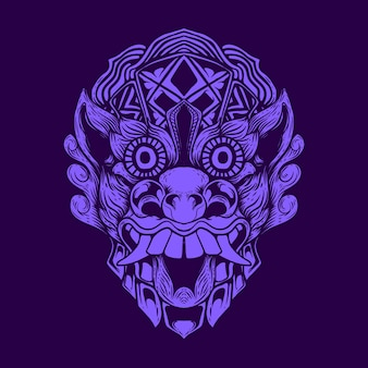 Demon masker kunstwerk illustratie