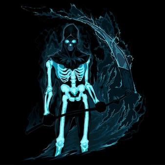 Demon met een zeis in het vuur vector horror illustratie