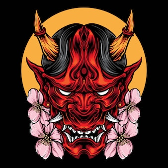 Demon oni masker met sakura vector